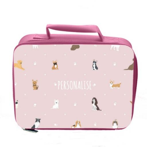 Personalised Dog Pattern Insulated Lunch Bag - Pink