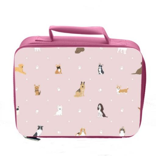 Dog Pattern Insulated Lunch Bag - Pink